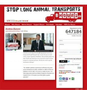Screen shot from the MEP space on animal welfare website