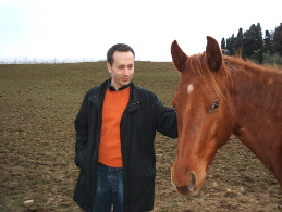 With one of the rescued horses - Montaione, Italy, 2006