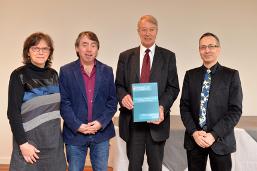 Presentation of the Report. Ann DeGreef, Michel Vandenbosch, Prof. Donald M. Broom, Adolfo Sansolini - Brussels, Belgium, December 2015 (Photo: GAIA)